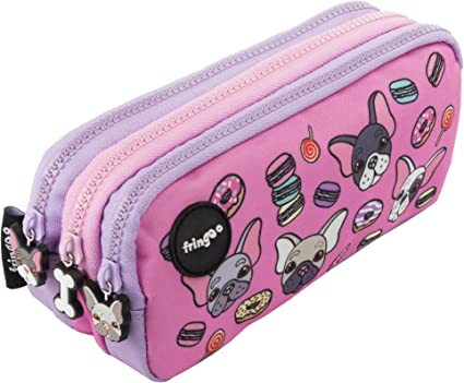 Estuche para lápices de 3 compartimentos FRINGOO, para niños, divertido y bonito, color Pugs & Sweets - 3 Compartments Large: Amazon.es: Oficina y papelería