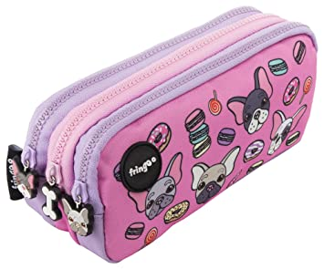 Estuche para lápices de 3 compartimentos FRINGOO, para niños, divertido y bonito, color Pugs & Sweets - 3 Compartments Large