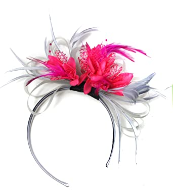 Silver Grey and Fuchsia Hot Pink Net Hoop Feather Hair Fascinator Headband  Wedding Royal Ascot Races  Amazon.co.uk  Clothing 400ceb7bcf9