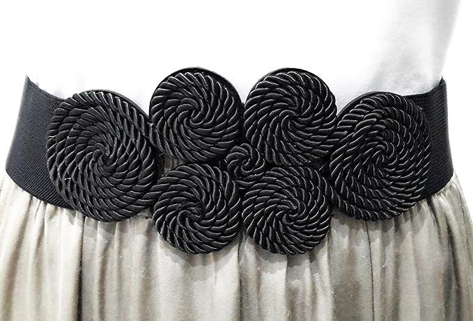 BRANDELIA Cinturón Elástico Mujer Fiesta Estilo Cordón de Seda para Combinarlo Con Vestidos, Faldas o Pantalones, Varios Colores