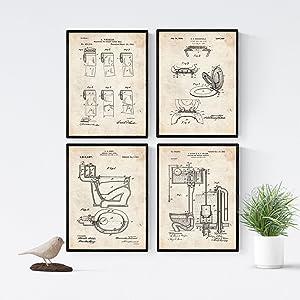 Nacnic Vintage - Pack de 4 Láminas con Patentes del Vater. Set de Posters con inventos y Patentes Antiguas. Elije el Color Que Más te guste. Impreso en Papel de 250 Gramos de Alta Calidad