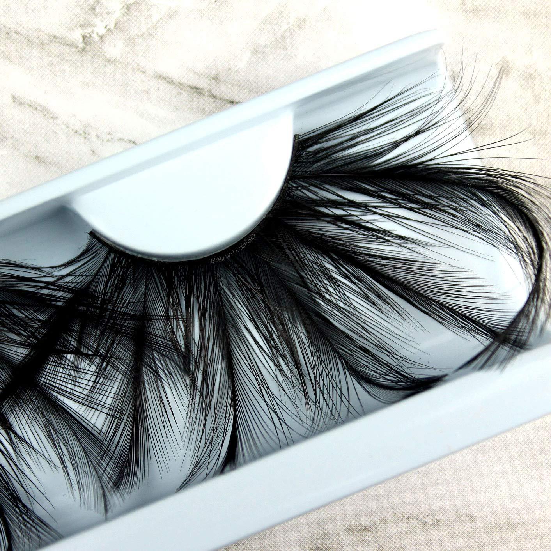 Elegant Lashes F148 Premium Long Black Feather False Eyelashes Halloween Dance Rave Costume