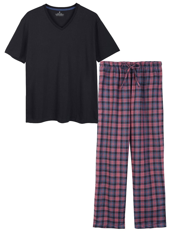 CHUNG Men's Cotton Plaid Pajama Pant and Short Sleeve Tee Sleepwear Lounge Set