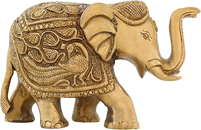 Home D/écor Gifts Item Lucky Figurine Showpiece Metal Statue ITOS365 Brass Trunk Up Elephant Statues Set of 2