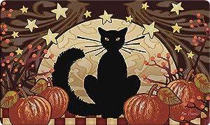 Toland Home Garden Moonlight Cat 18 x 30 Inch Decorative Halloween Floor Mat Kitty Pumpkin Doormat (800286)