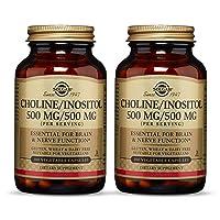 Solgar Choline/Inositol 500 mg/500 mg, 100 Vegetable Capsules - Pack of 2 - Energy...