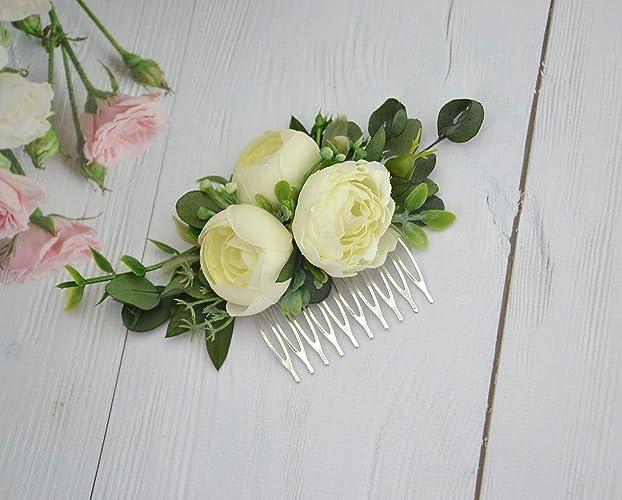 Amazon Com White Flower Comb Eucalyptus Floral Hair Comb
