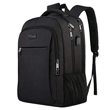 Mochila de negocios para computadora portátil, mochila de viaje con puerto de carga USB,