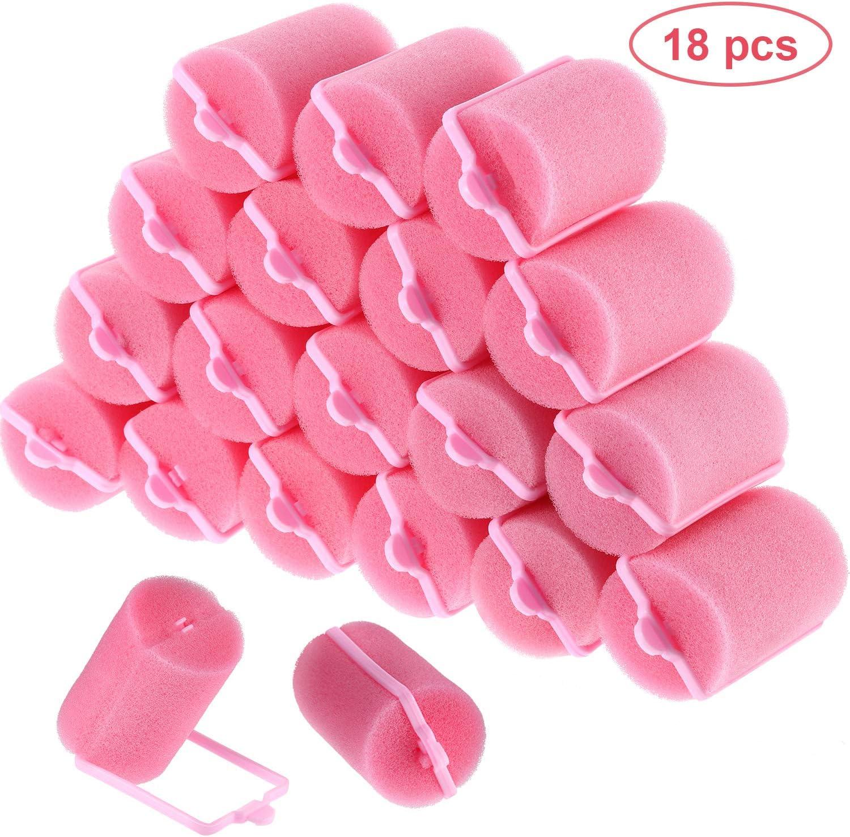 Rodillos de pelo de esponja de 18 piezas. 40 mm. Espuma suave. Estilismo para el cabello. Bigudíes de peluquería de gran tamaño para mujeres y niños (40 mm)