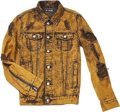 S-JACOL Mens Distressed Destroyed Trucker Denim Jacket