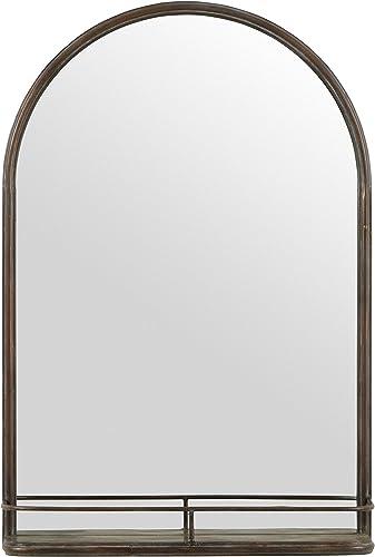 Amazon Brand Stone Beam Modern Round Arc Iron Hanging Wall Mirror With Shelf, 30 Inch Height, Dark Bronze