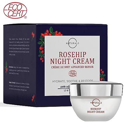 Crema de Noche Anti-Envejecimiento O Naturals ECOCERT Orgánica - Con Aceite Rosa Mosqueta + Ácido Hialurónico y Vitamina ...
