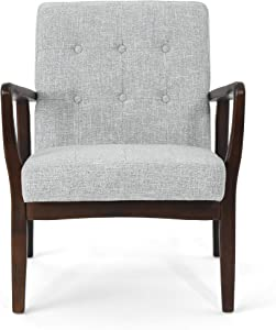 Christopher Knight Home Conrad Fabric Mid-Century Birch Club Chair, Cement Heathered Tweed and Dark Espresso