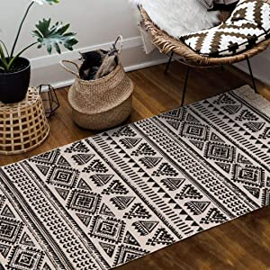 Seavish Cotton Printed Rug, 2'W x 4.4'L Decorative Black and White Tribal Kilim Small Area Rug Hand Woven Rug for Entryway Thin Runner Throw Rugs with Non Slip Pad for Laundry Room Living Room Dorm