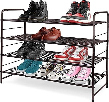 YOMYM Estante del Zapato, Zapatero de Negro de Metal Estantes, Organizadores de Zapatos, Zapatero con 4 Estantes de Zapatos de Torre Organizador del ...