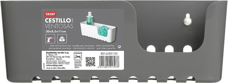 TATAY 4520201 Etag/ère /à Ventouses Grand Mod/èle Plastique Blanc 30 x 8,5 x 11 cm