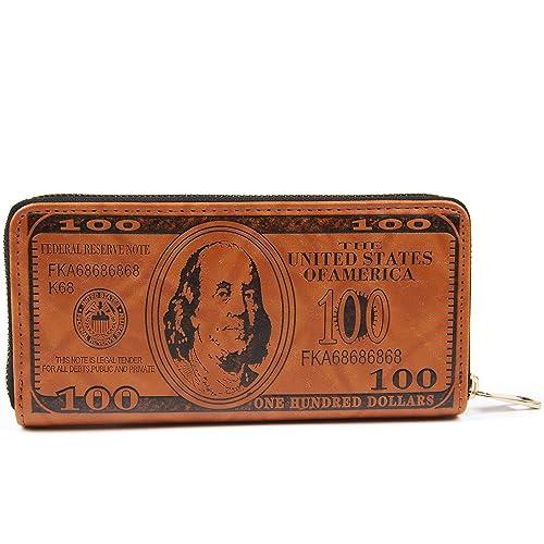 New Men US Dollar Bill Wallet Brown PU Leather Bifold Credit Card Photo Holder W