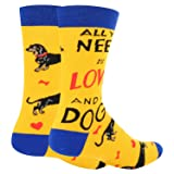 Novelty Crazy Dog Crew Socks Cute Dachshund Combed