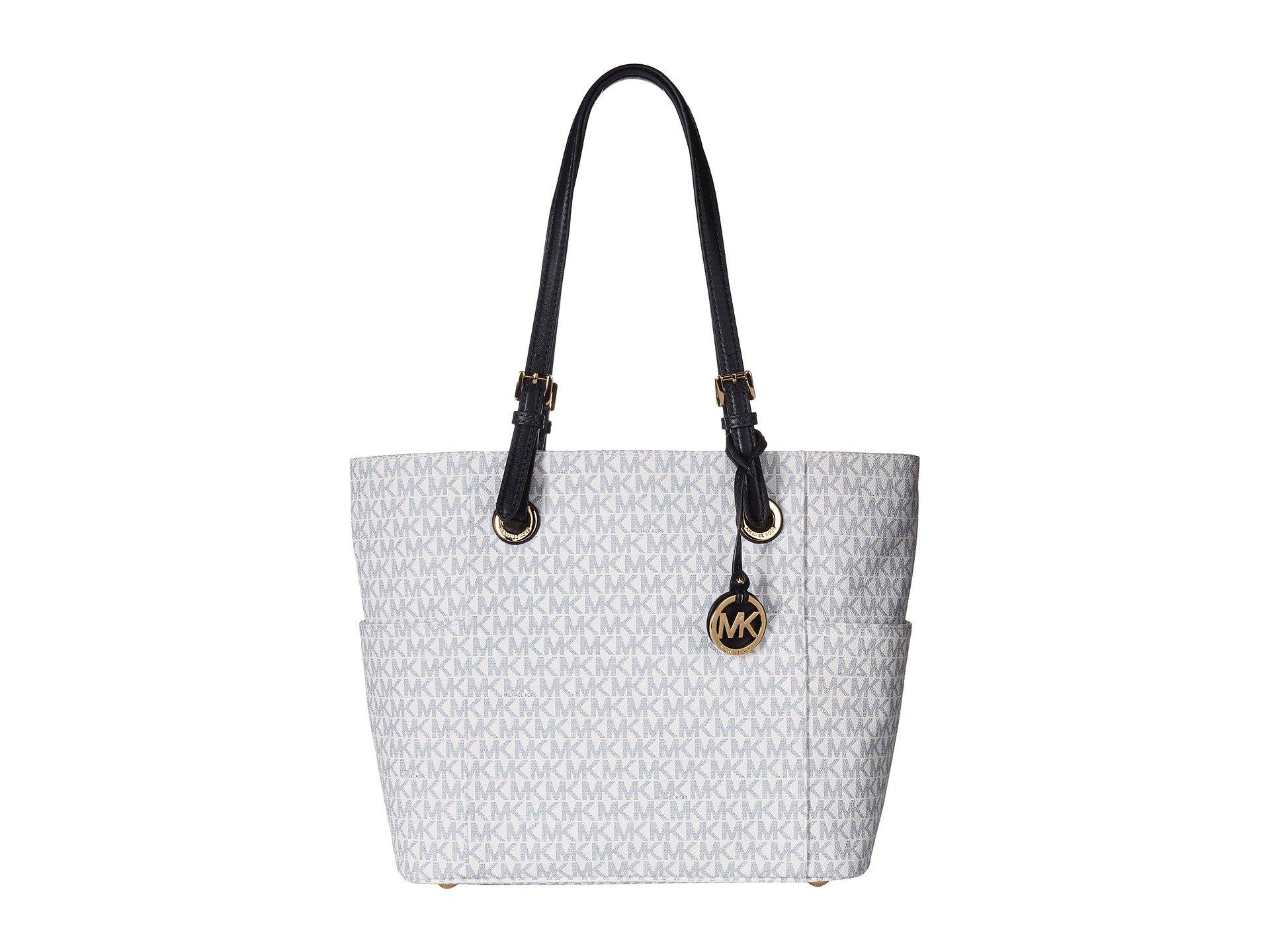 Michael Kors Women's Jet Set Travel Small Logo Tote Bag (Optic White/Navy)