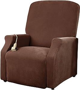 SureFit Home Décor SF38704 Pique Box Cushion Large Size Lift Recliner Chair Cover, Stretch Form Fit, Polyester/Spandex, Machine Washable, One Piece, Chocolate Color