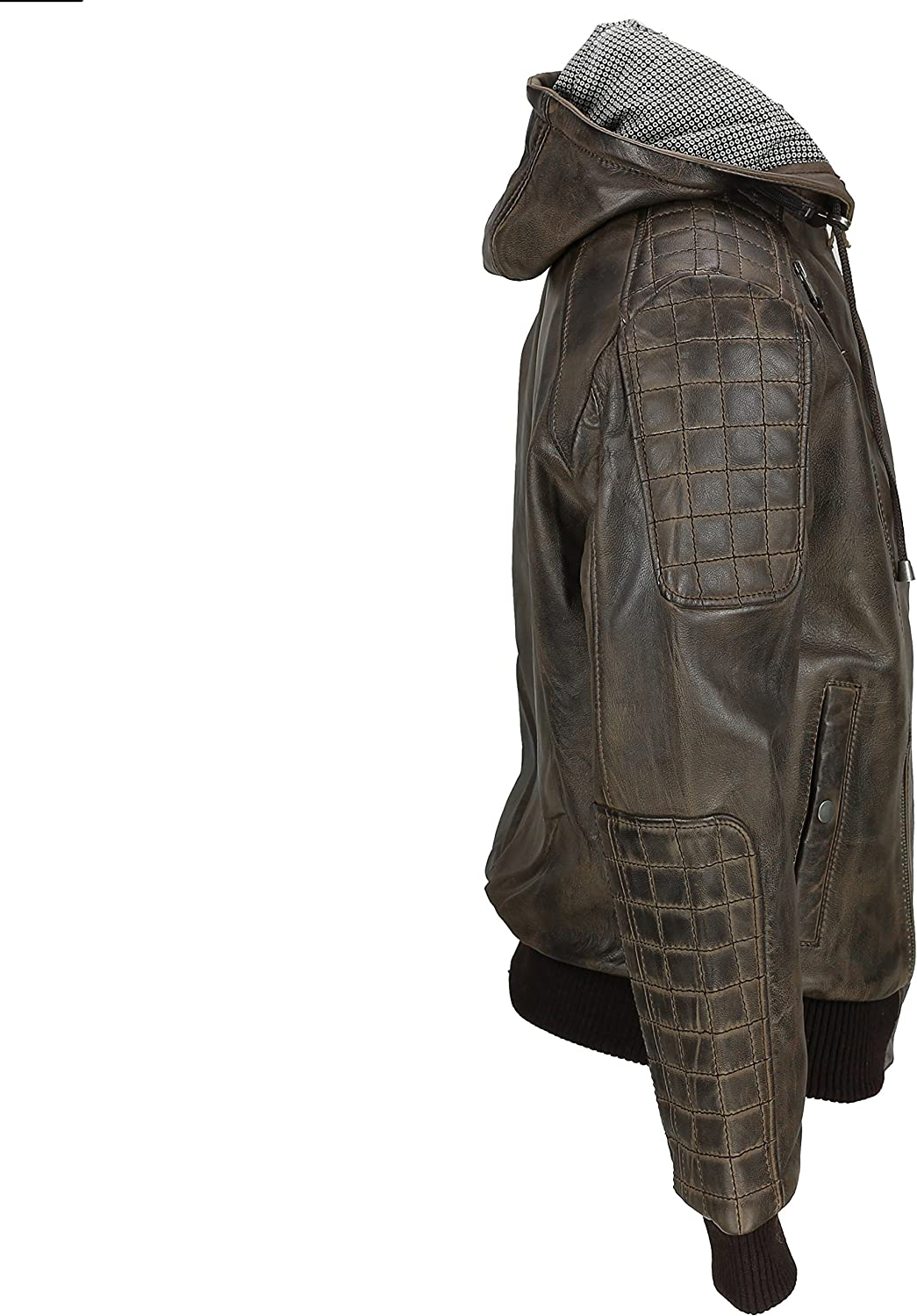 Xposed Mens Vintage Real Leather Bomber Jacket Detachable Hood Biker Style in Washed Brown Tan Black