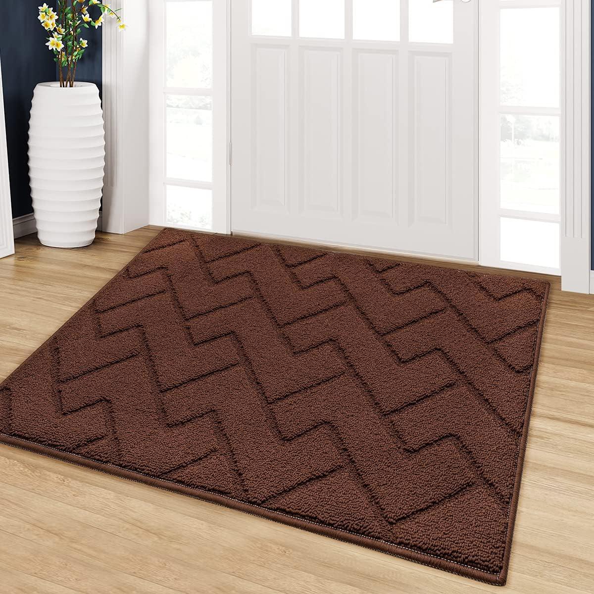 """Indoor Doormat,24""""x35"""" Front Back Door Mat Rubber Backing Non Slip Door Mats Absorbent Resist Dirt Entrance Doormat Inside Floor Mats for Entryway Machine Washable Low-Profile (Coffee)"""