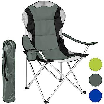 TecTake Silla de camping plegable + Portabebidas + Práctica bolsa de transporte Marco Ø: unos 18 mm - disponible en diferentes colores y varias ...
