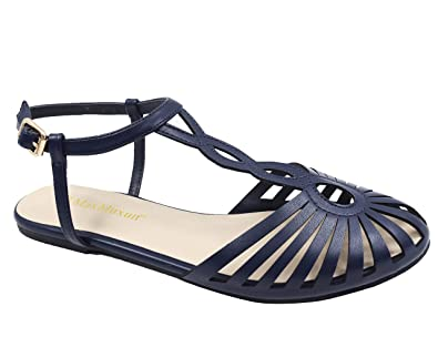 5071fbb6b53c Max Muxun Women s Round Peep Toe Bead Roman Sandals Summer Beach Post  Sandals Size 2UK