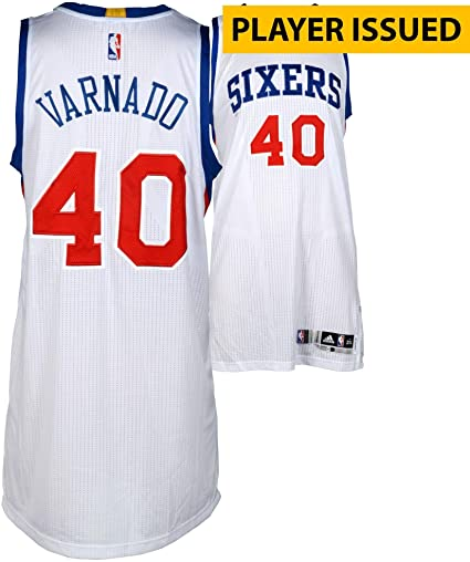 Jarvis Varnado Philadelphia 76ers Player-Issued  40 White Jersey from the  2013-2014 2357e744e