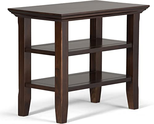 SIMPLIHOME Acadian SOLID WOOD 14 inch wide Rectangle Rustic Contemporary Narrow Side Table