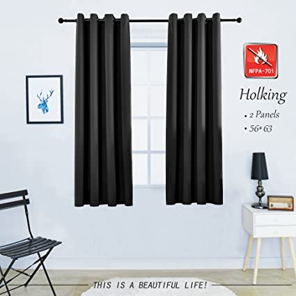 HOLKING 2 Pack New Tech Flame Retardant Curtains 63 Inches Long For Bedroom Grommet Blackout Drapes