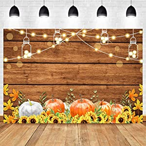Wooden Board Fall Harvest Sunflower Photography Backdrop Thanksgiving Day Rustic Wood Floor Autumn Pumpkin Photo Background Party Banner Vinyl 5x3ft Food Table Photo Booth Studio Props