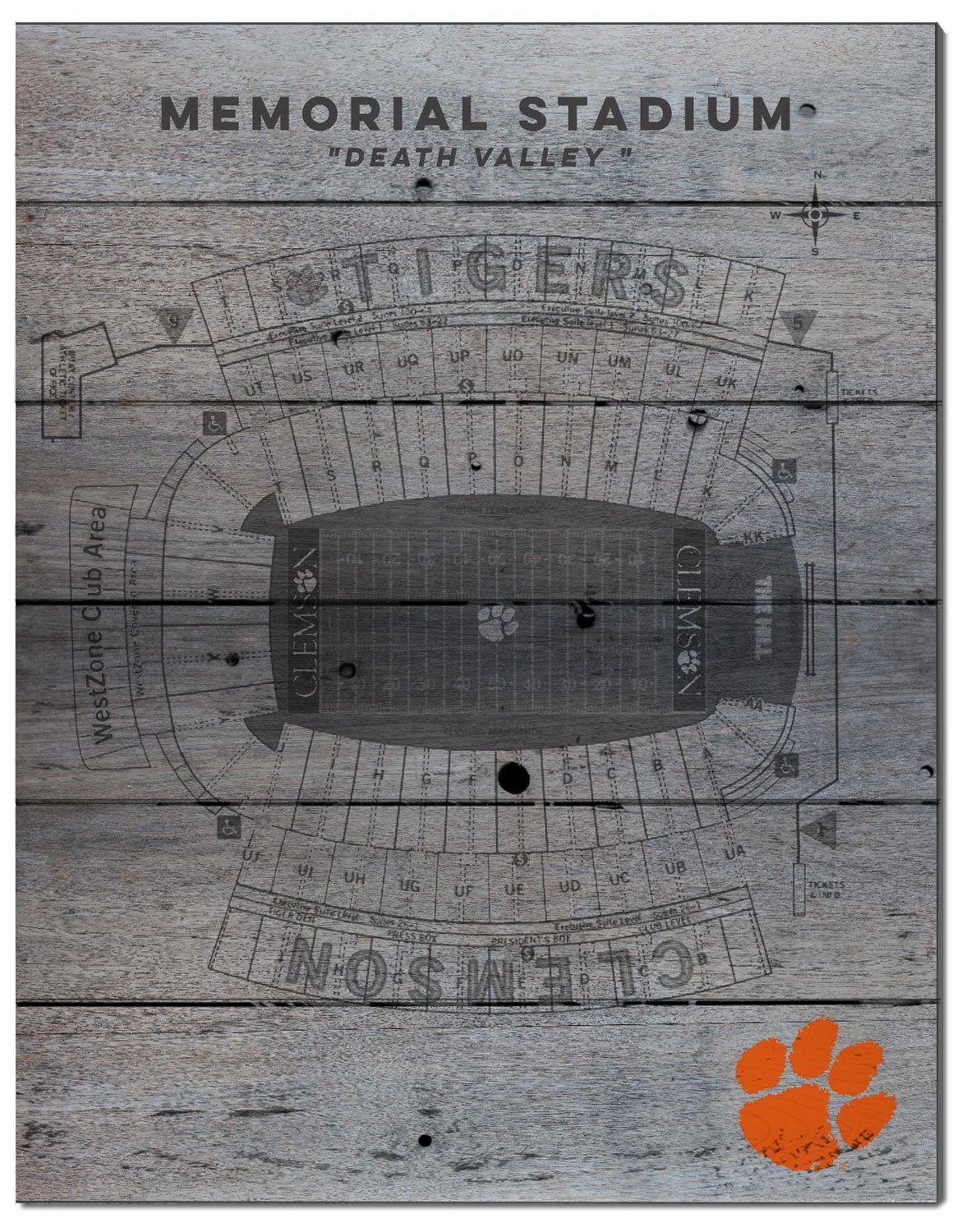 KH Sports Fan 16x20 Clemson Tigers Seating Chart Collage Pallet Pride Plaque