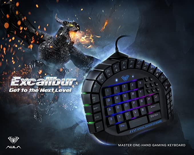 dc5b3ad9dd1 Amazon.com: AULA 30 Progammable Keys One Handed Merchanical Gaming Keyboard  - RGB Backlit Gaming Keypad, Green Switches One-Hand Keyboard with  Detachable ...