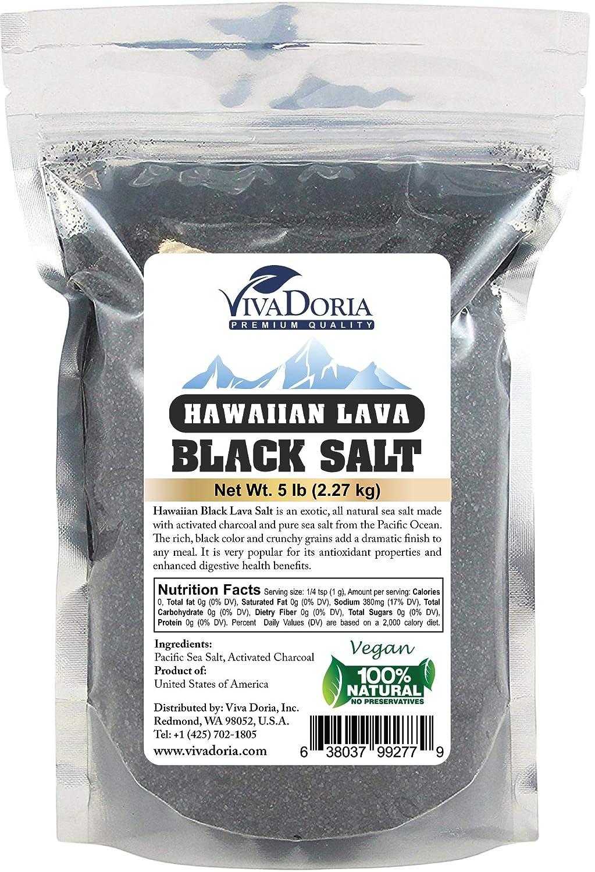 Viva Doria Hawaiian Black Lava Sea Salt, Fine Grain, Lava Salt, 2 lb (907 g) : Grocery & Gourmet Food