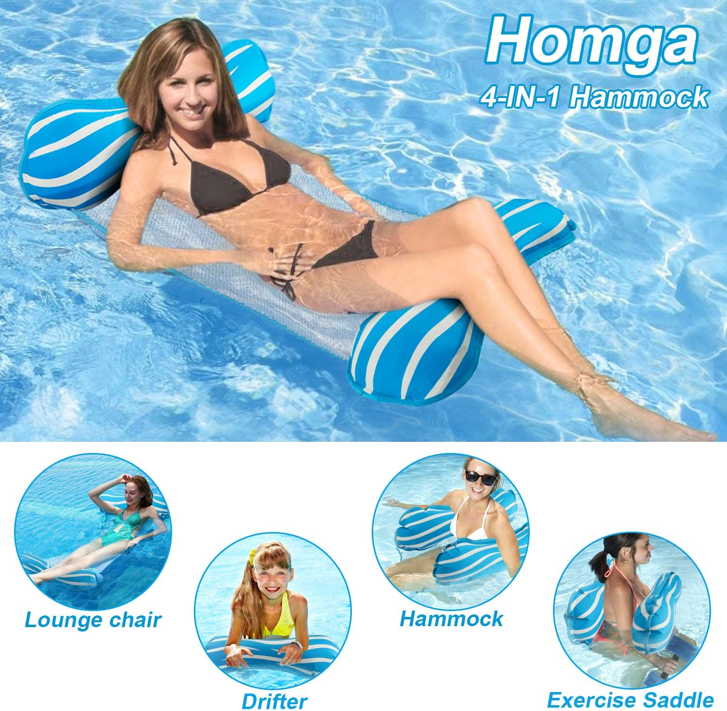 Amazon Com Homga Water Hammock Swimming Pool Floats Hammocks Pools Lounger Float Hammock Inflatable Rafts Floating Chair Pool Float For Adults And Kids Toys Games
