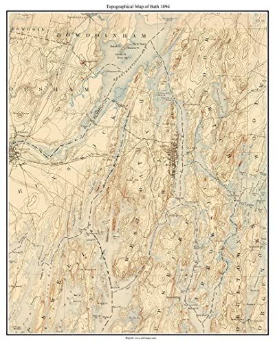Topo Map Of Maine.Amazon Com Bath 1894 Old Topographic Map Usgs Custom Composite