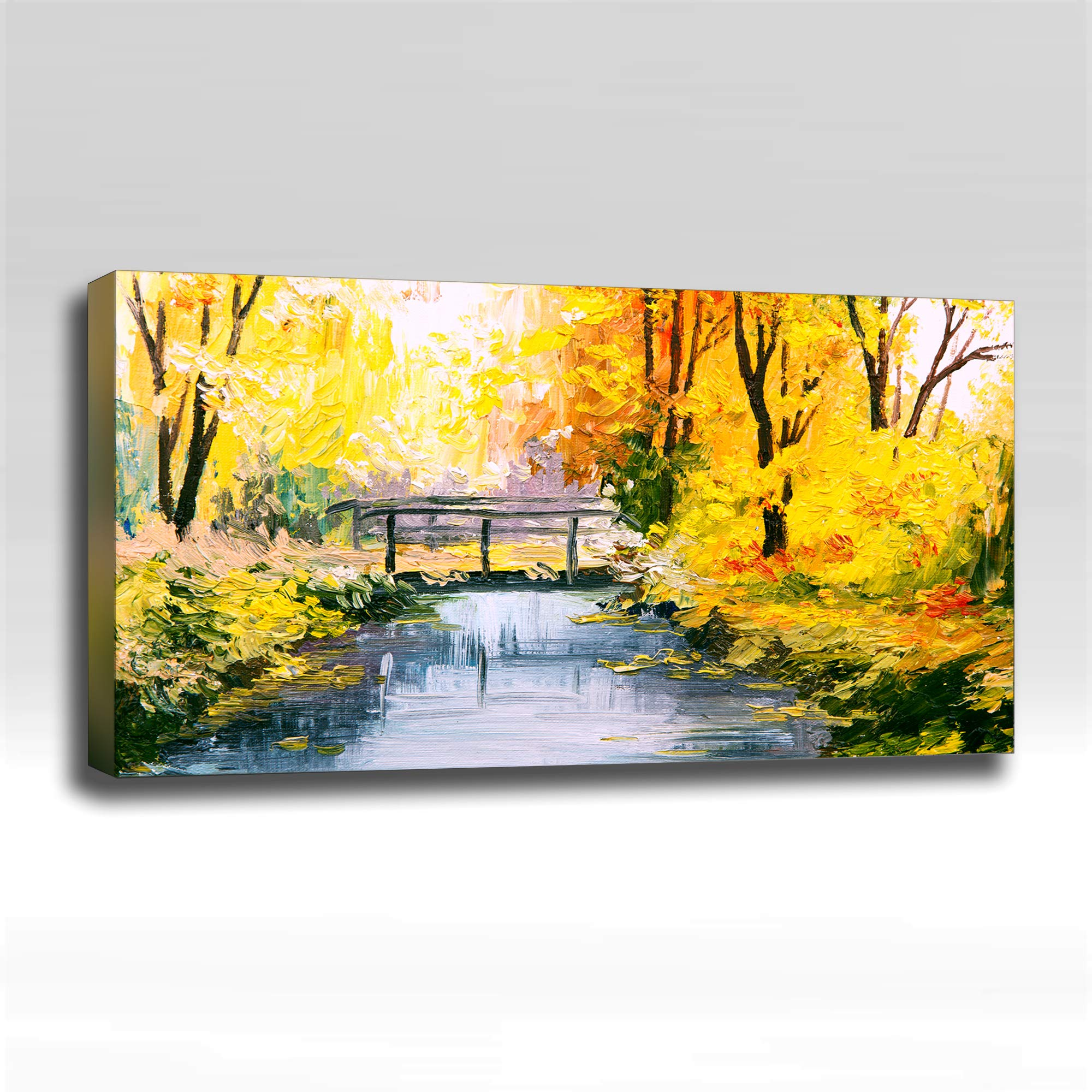 Autumn Bridge Painting - Ready Made 4'x2'x2'' Acoustic Art Panel : Includes all Mounting Hardware.