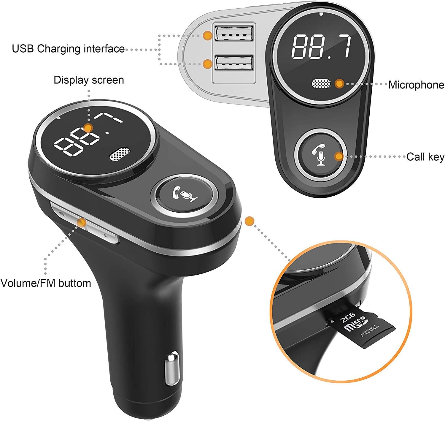 Silver Wireless Bluetooth FM Radio Adapter Car Kit with Hands-Free Calling Bluetooth FM Transmitter for Car, Rotating Design 5V//2.4A/&2.4 Concealled Dual USB Charging Ports.