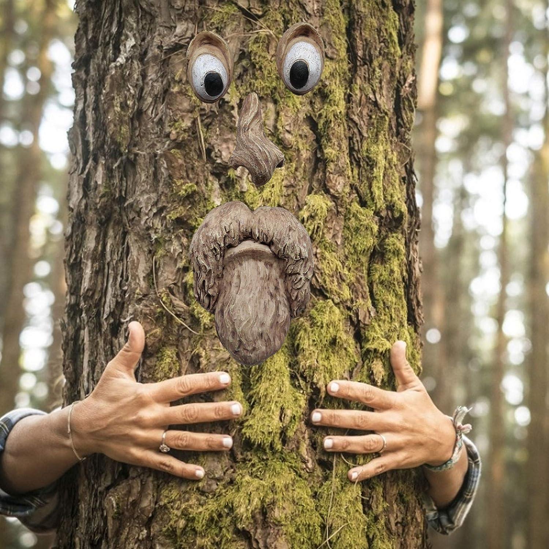 Tree Face Decor, Outdoor Old Man Bark Face Tree Sculpture Art Decoration, Funny Tree Faces Outdoor Statue Garden Art Decor (A)