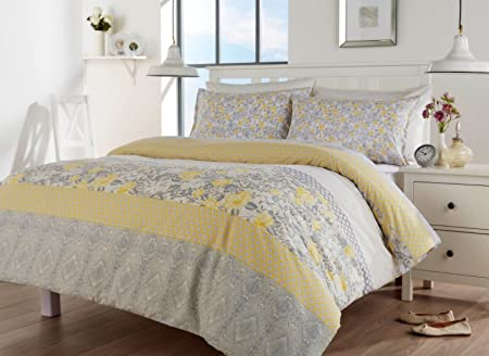 CATHERINE LANSFIELD ORIENTAL BIRDS FLORAL GREY YELLOW DUVET QUILT COVER BED  SET (Double, ORIENTAL