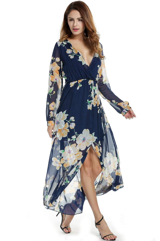 OD'lover Women Chiffon V-Neck Long Sleeve Slit Floral Long Maxi Party Beach Dress