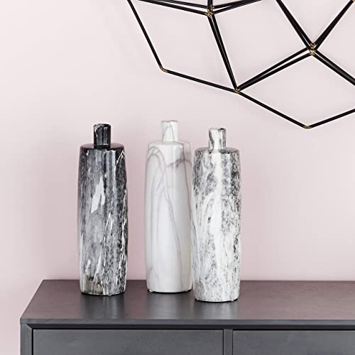 CosmoLiving by Cosmopolitan 93691 Handmade Tall Cylindrical Ceramic Bottle Vases with Glossy Black, White, Gray Marble Finishes Set of 3 4 x 13 Each