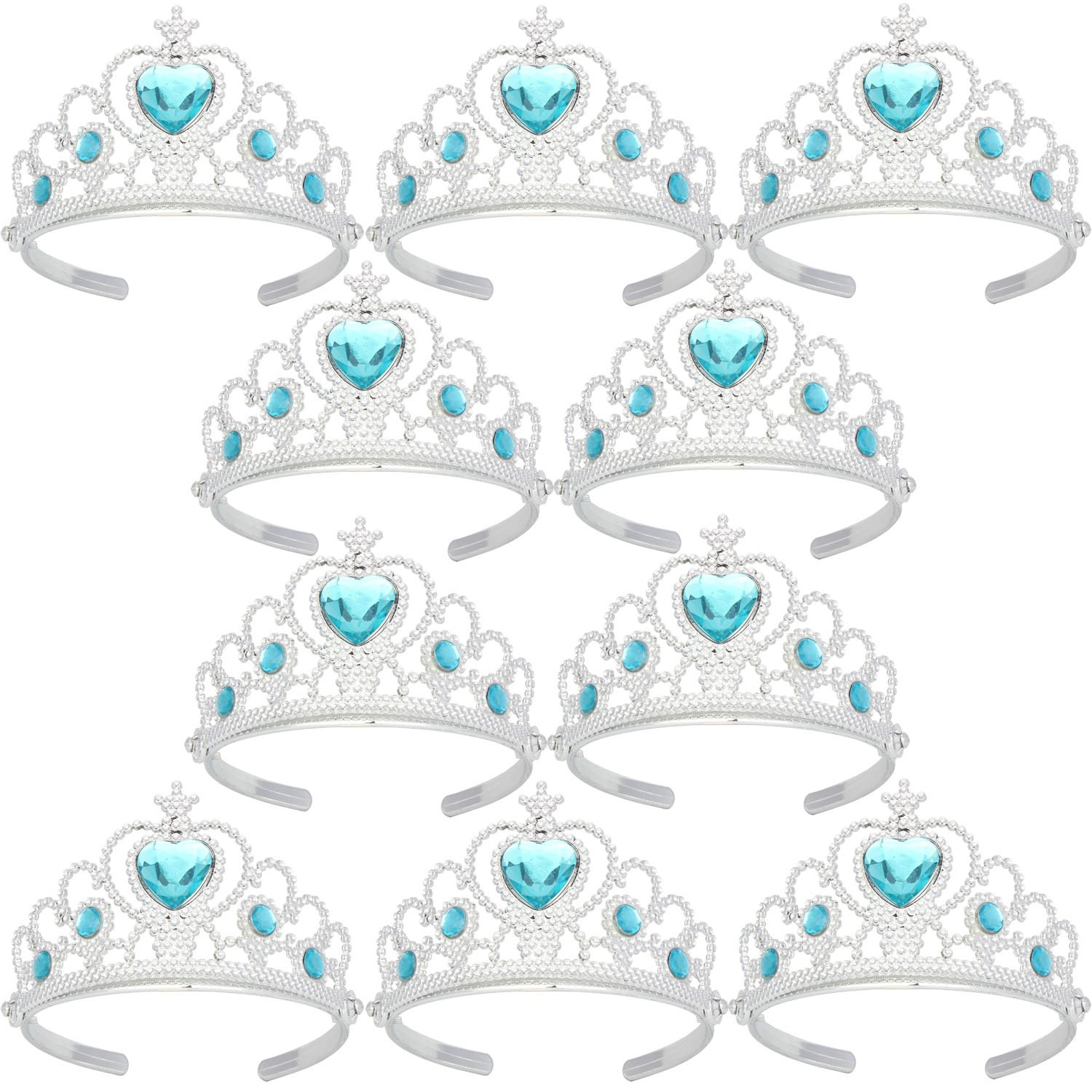 Tiaras and Crowns For Little Girls Toys Silver Plating Plastic Tiaras Sky Blue(10 Pack)