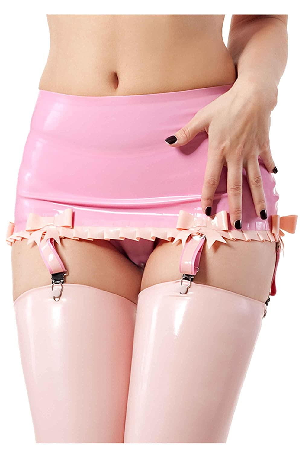 9946ac4bd Amazon.com  Burlesque Suspender Belt Pearl Sheen Fuchsia with Baby Pink  Trim  Clothing