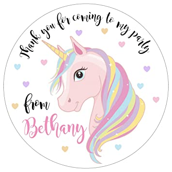 Personalised unicorn birthday party stickers labels great for sweet cones gift bags etc