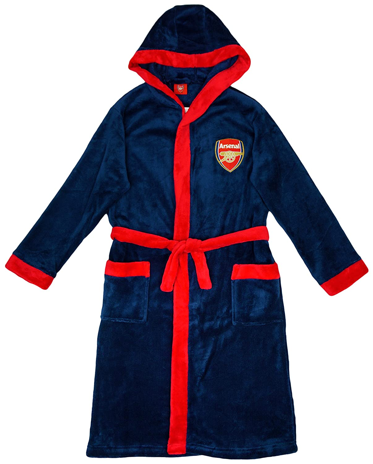 Boys Official Arsenal FC Gunners Hooded Dressing Gown Bath Robe sizes from 3 to 13 Years