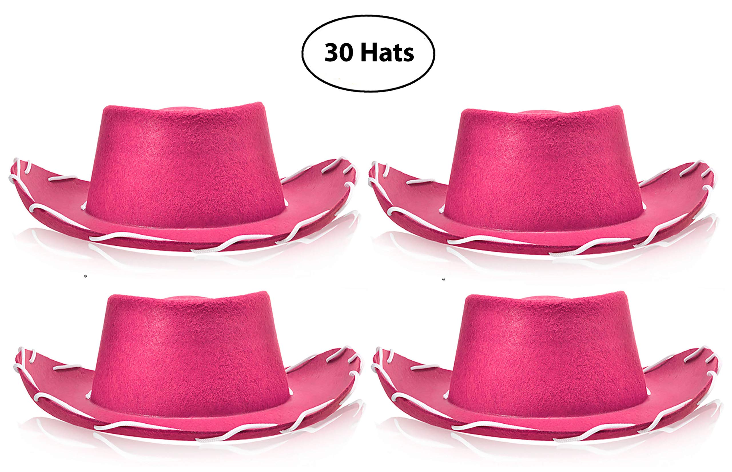 Bottles N Bags 30 Pink Children's Western Style Woody Felt Cowboy Hats for Pretend Play (Jumbo Pack of 30 Hats)