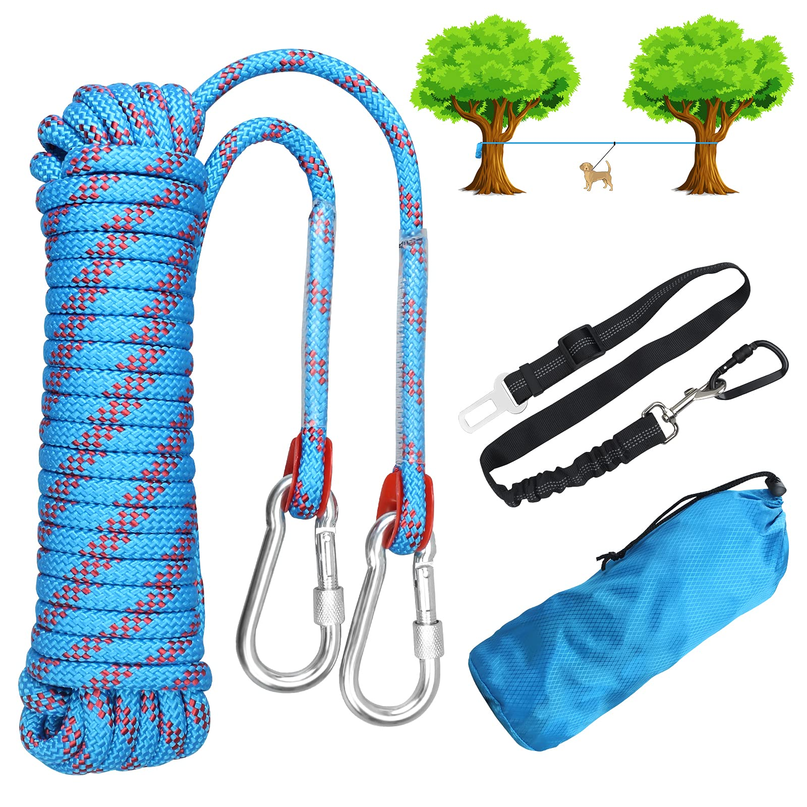 Dog Tie Out Cable for Outdoor Camping, Dog Trolley System Runner Cable for Yard, 32 ft Durable Heavy Tie Out Cable for Large Medium Small Dogs Up to 200lbs