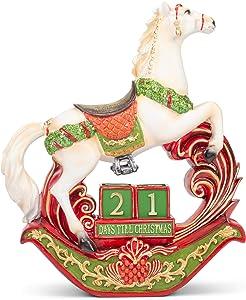 Mark Feldstein & Associates Rocking Horse Countdown White 11 inch Resin Stone Holiday Décor Advent Calendar
